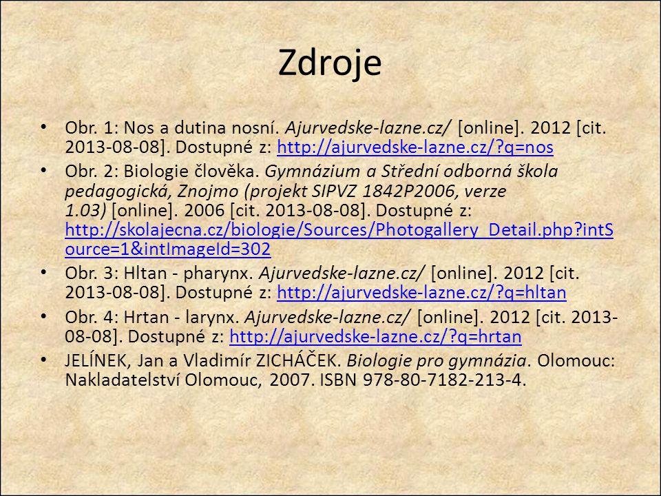 Zdroje Obr. 1: Nos a dutina nosní. Ajurvedske-lazne.cz/ [online]. 2012 [cit. 2013-08-08]. Dostupné z: http://ajurvedske-lazne.cz/ q=nos.